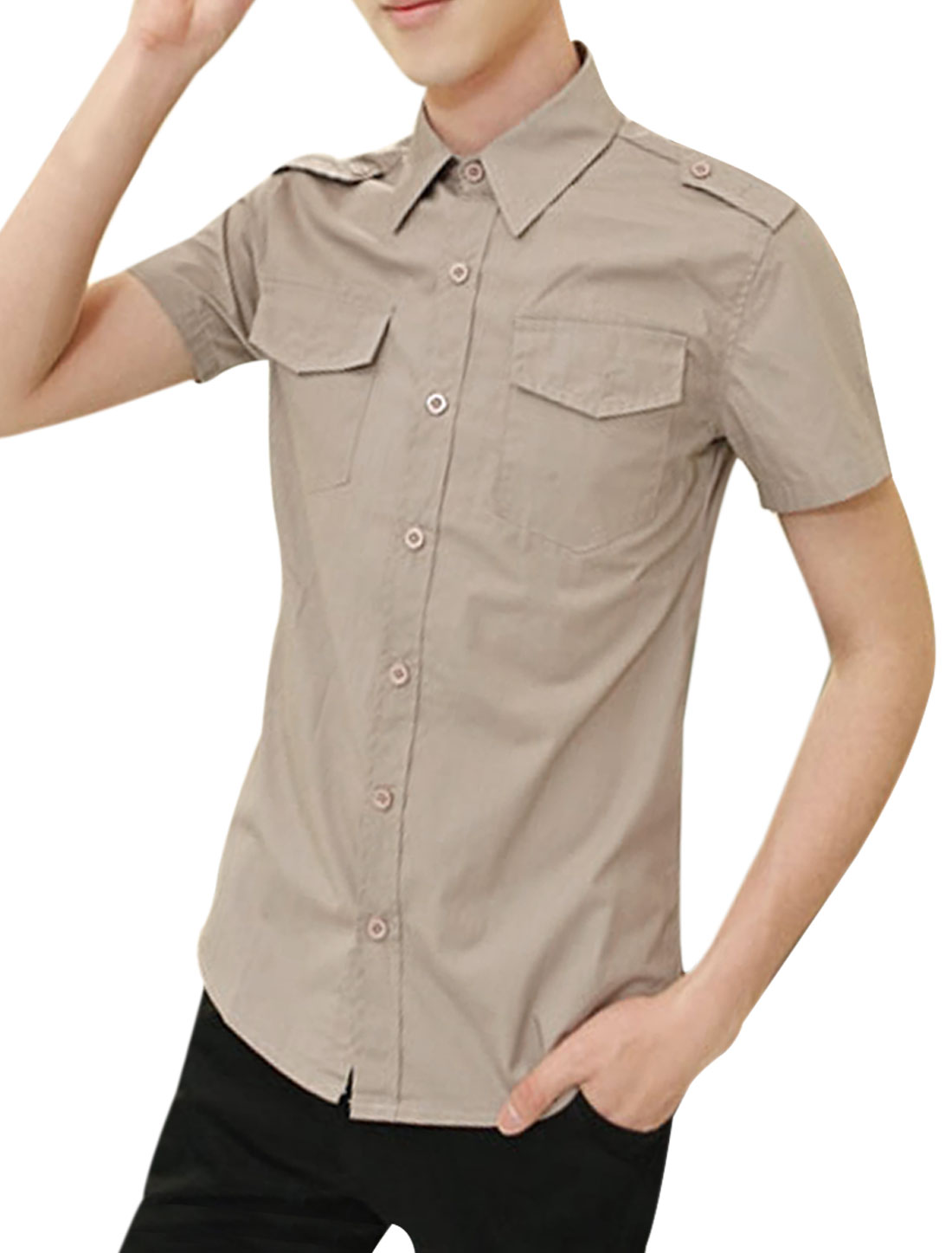 Men Short-sleeved Buttons Front Flap Pockets Shirt Khaki M