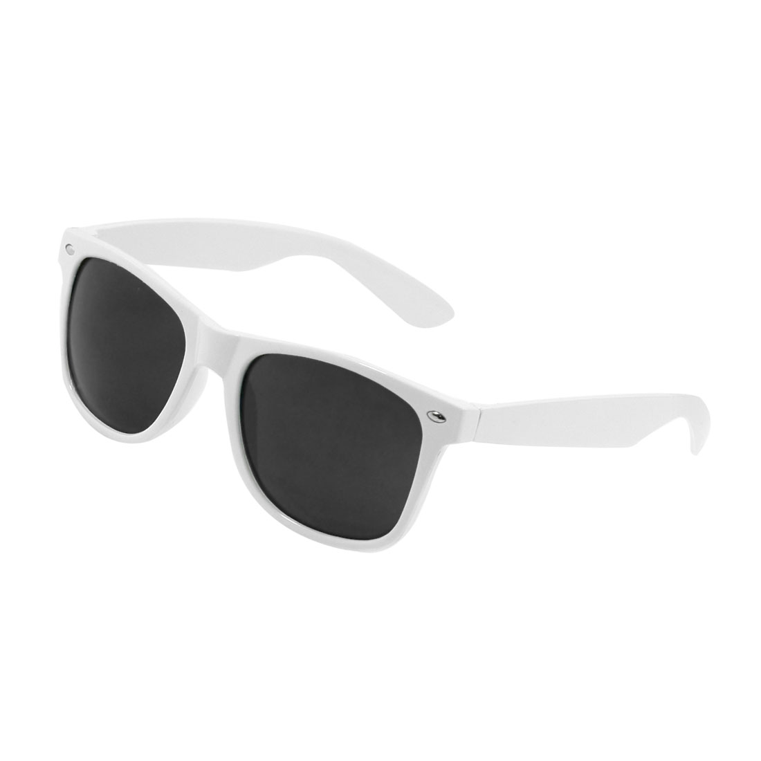 White Single Bridge Full Rim Gray Lens Plastic Eyewear Sunglasses for Women