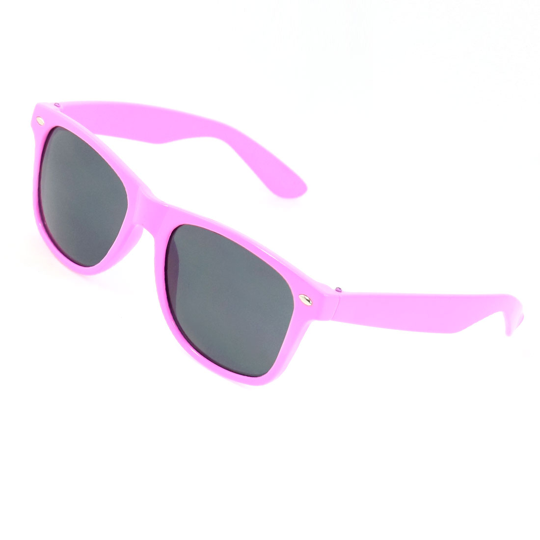 Women Pink Full Rimmed Plastic Single Bridge Gray Lens Sunglasses