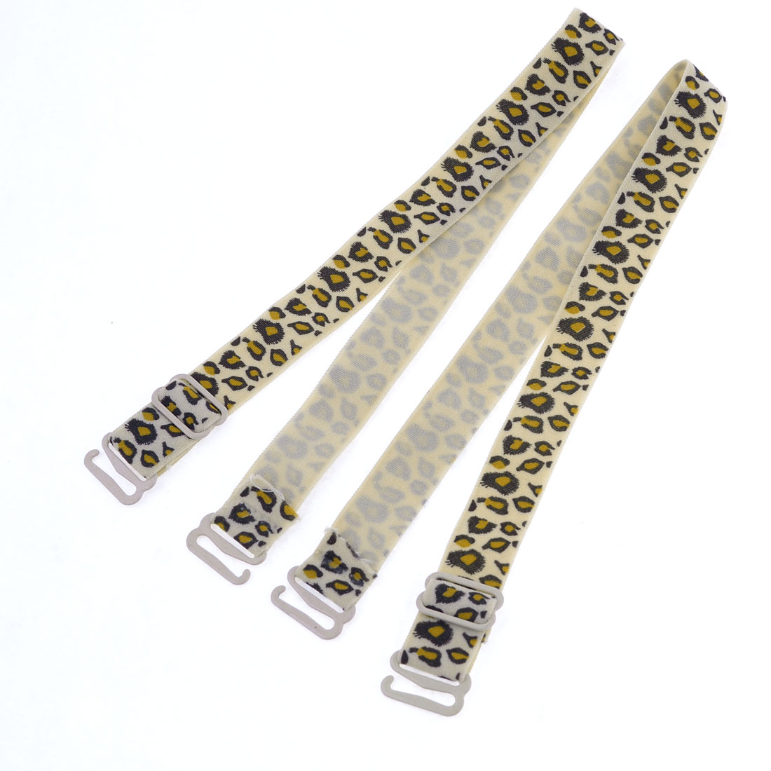 Leopard Pattern Beige Elastic Fabric Plastic Hook End Bra Straps Pair for Ladies