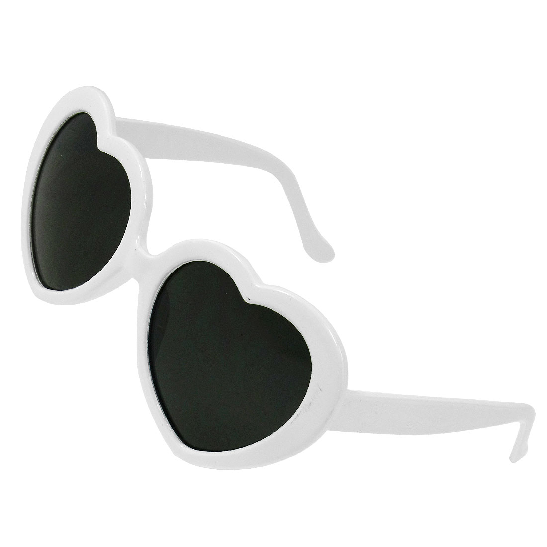Children Plastic Folding Arms White Full Frame Heart Shape Lens Sunglasses