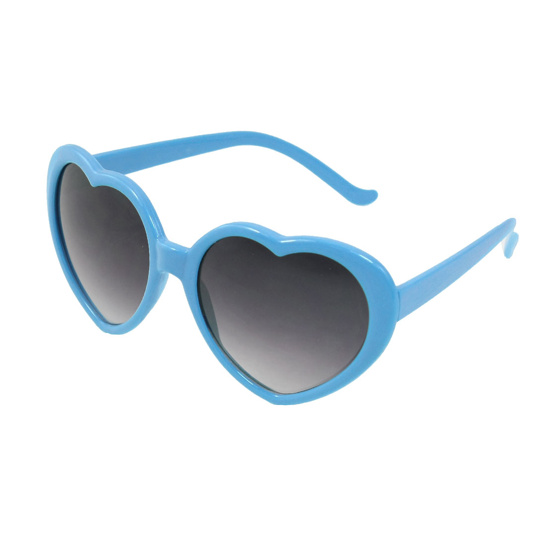 Child Smooth Plastic Arms Sky Blue Heart Shaped Frame Sunglasses