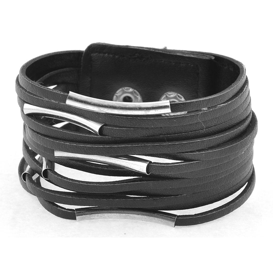 Metal Press Stud Button Black Faux Leather Adjustable Bracelet