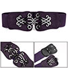 Woman Metal Swirl Flower Interlock Buckle Elastic Band Cinch Belt Purple