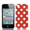 White Dots Pattern Red Hard Plastic Back Case Cover for iPhone 4 4S 4th