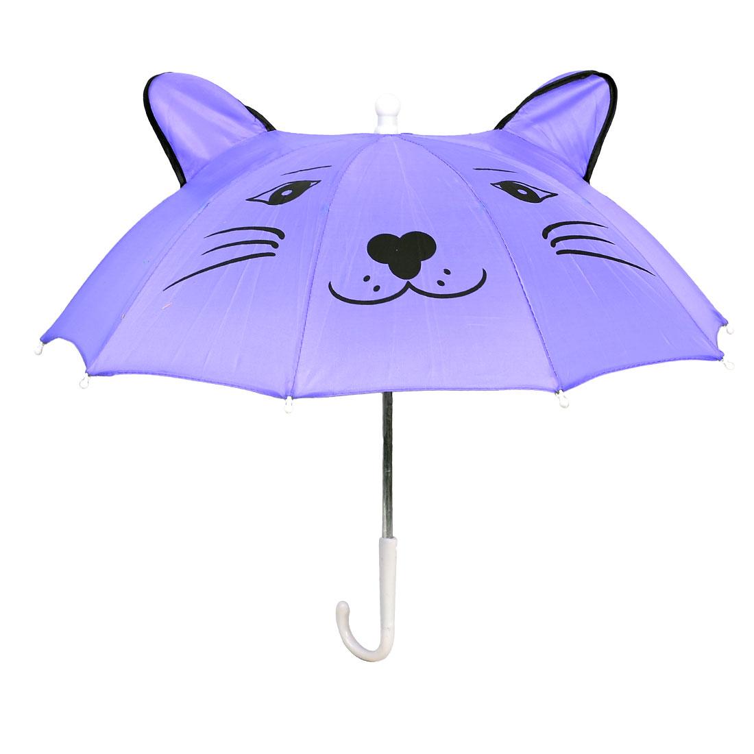 Metal Frame Cartoon Leopard Pattern Mini Umbrella Purple