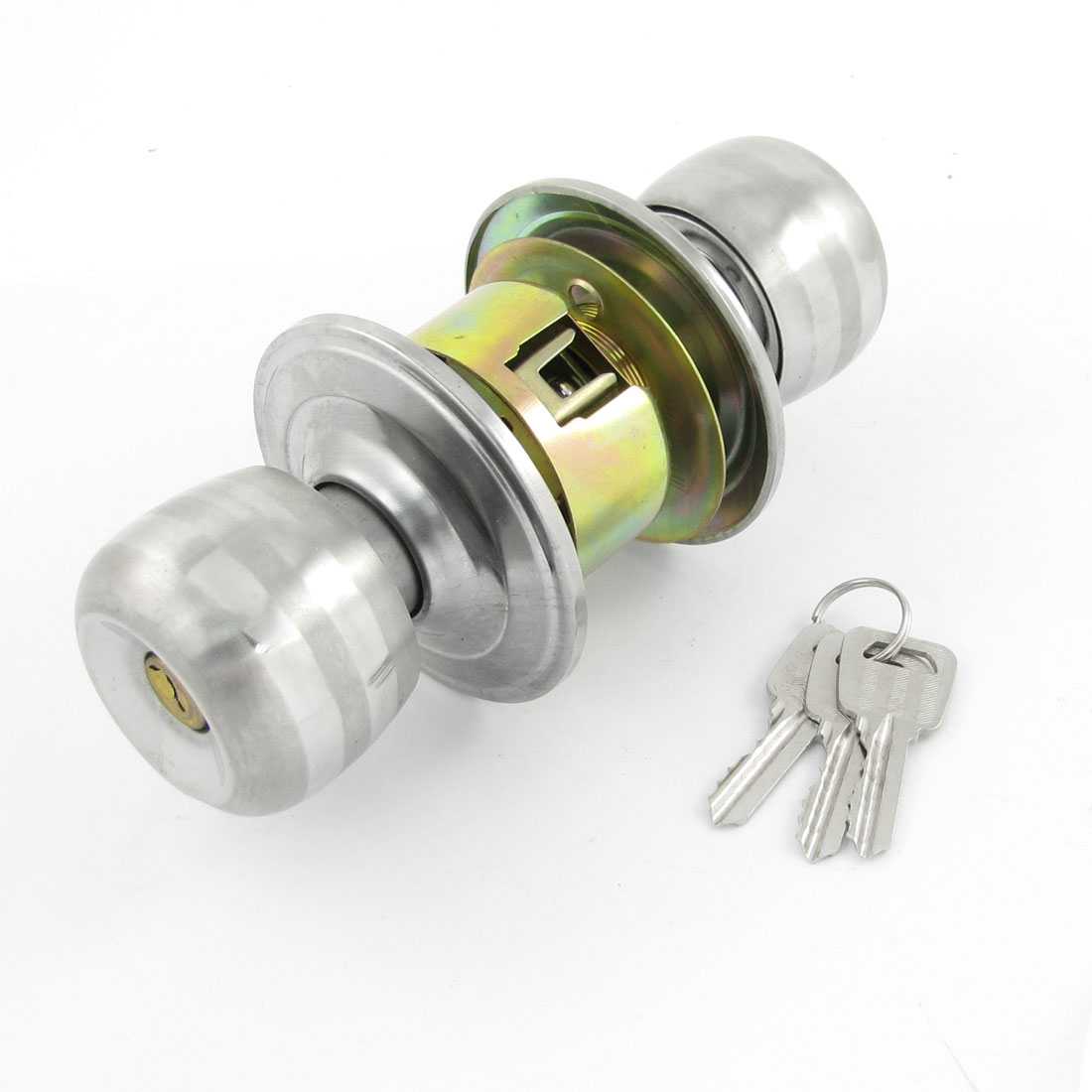 Home OfficeSilver Tone Stainless Steel Key Locking Locker Door Knob Lock