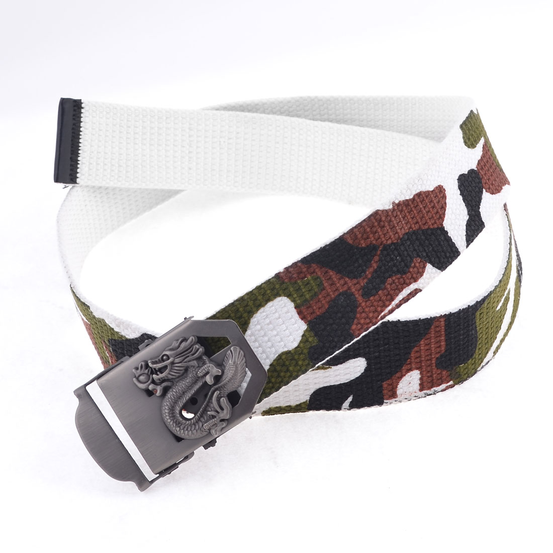 Men Light Gray Dragon Detail Slide Buckle Adjustable 3.7cm Width Waistband Belt