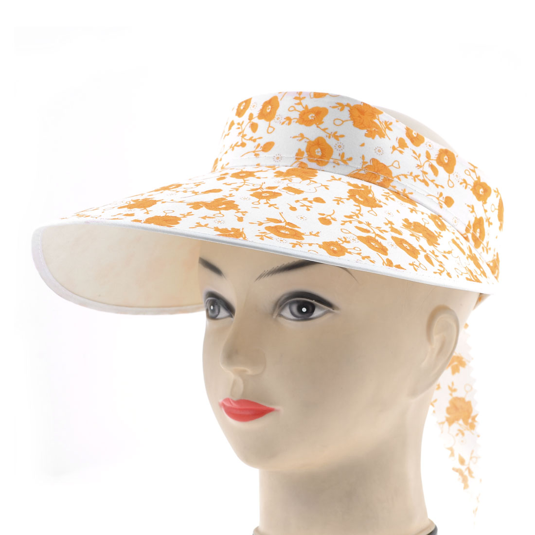 Ladies Flower Print Big Brim Summer Elastic Visor Peaked Cap Hat Orange White
