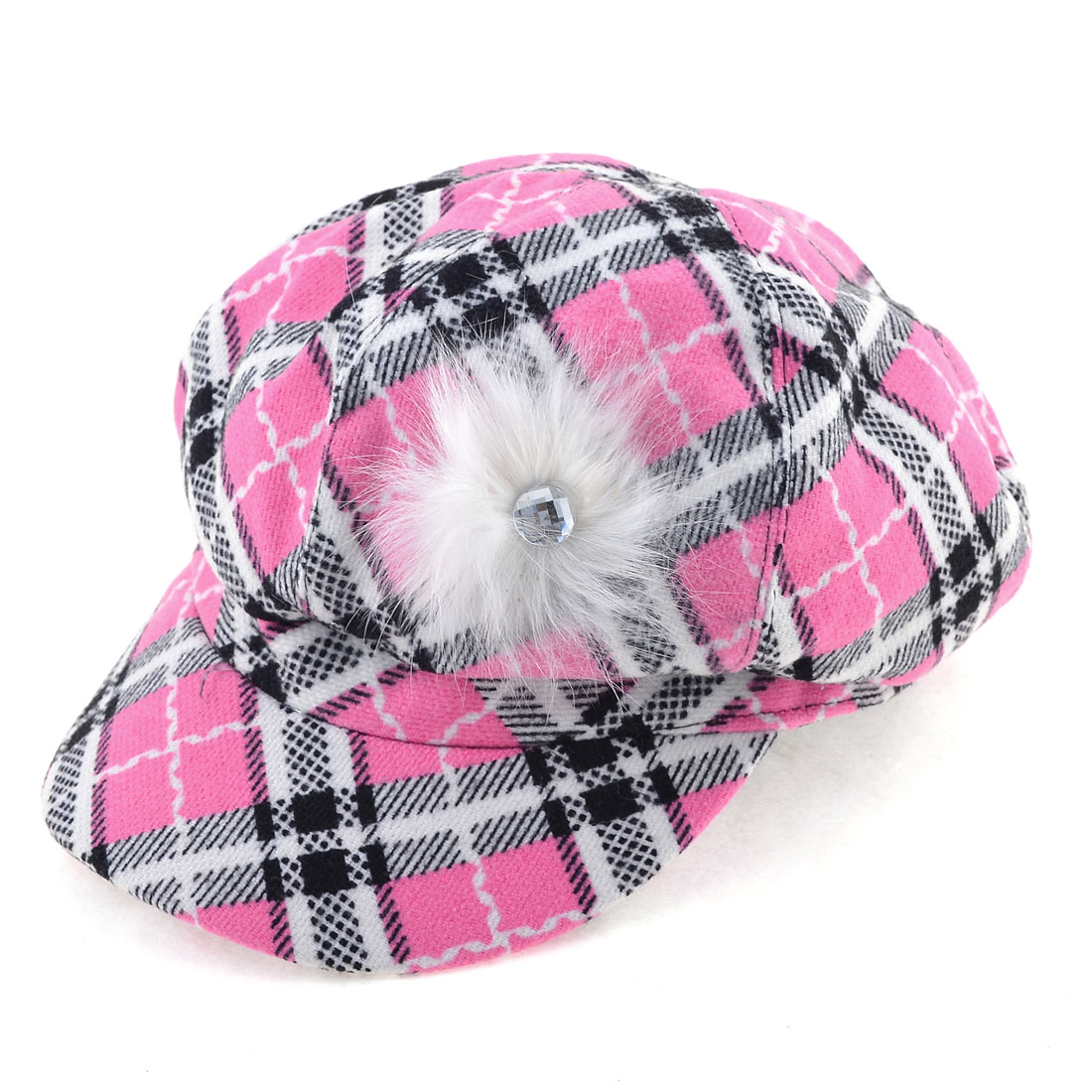 Ladies Plaid Pattern Cotton Blends Winter Spring Wear Peaked Cap Pink Black