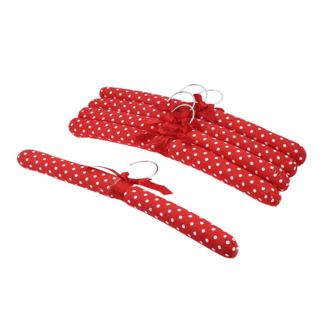 5pcs Red Nylon Wrapped Wood Metal Hook Clothing Pants Shirts Hangers