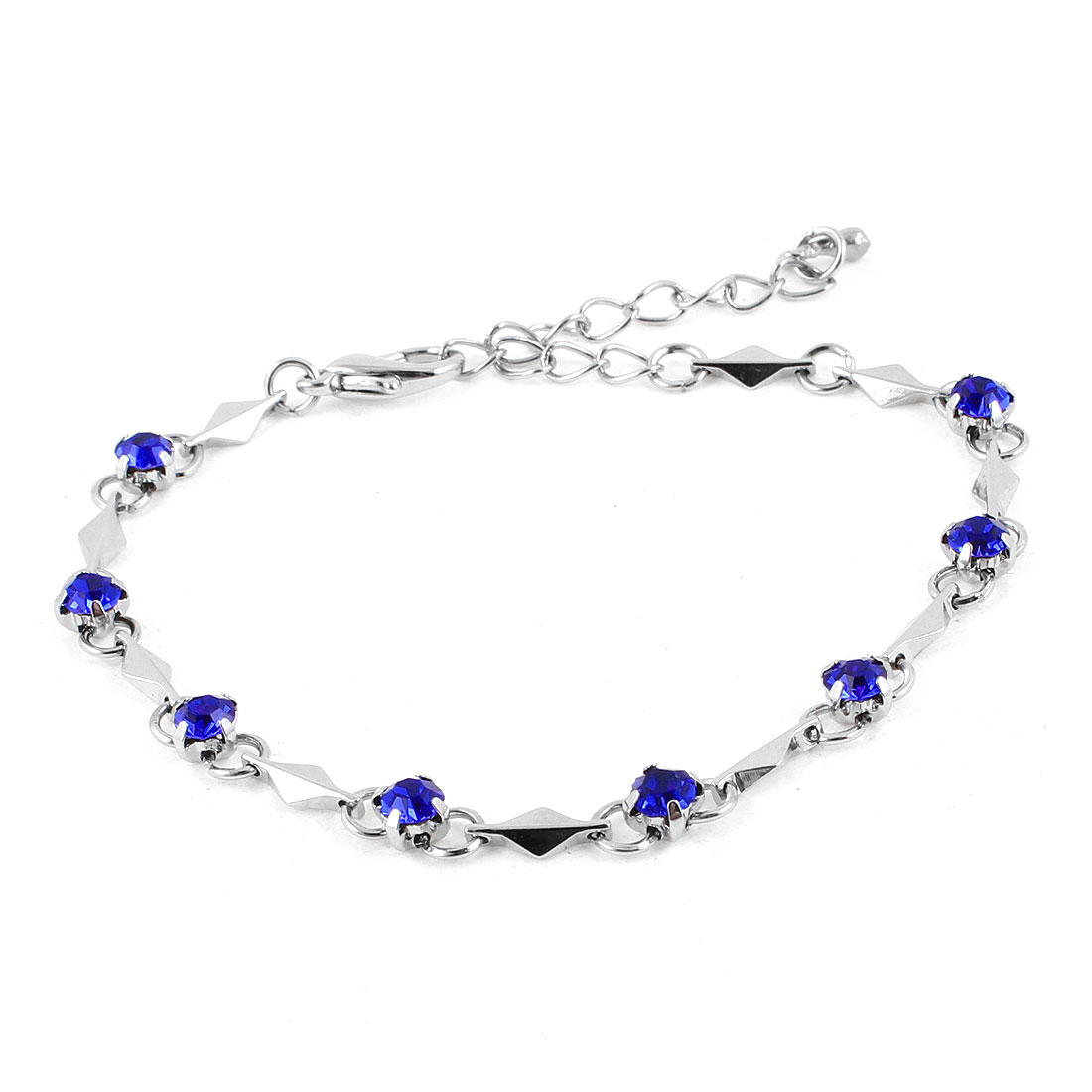 Blue Faux Crystal Decor Metal Wrist Chain Bracelet for Ladies