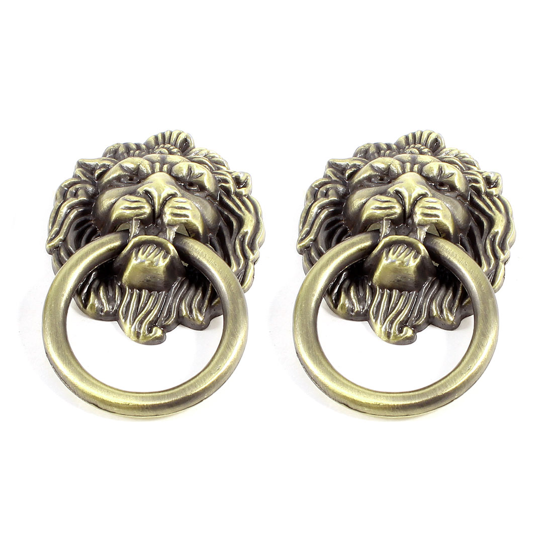 Bronze Tone Metal Lion Head Design Drawer Cabinet Gate Door Pull Handle Knobs Pair