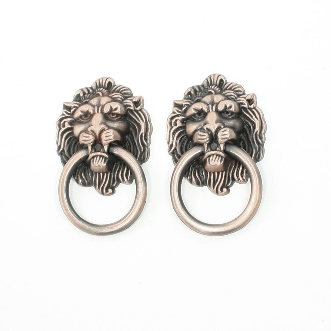 2 Pcs Retro Style Copper Tone Metal Ring Lion Head Shape Door Handle