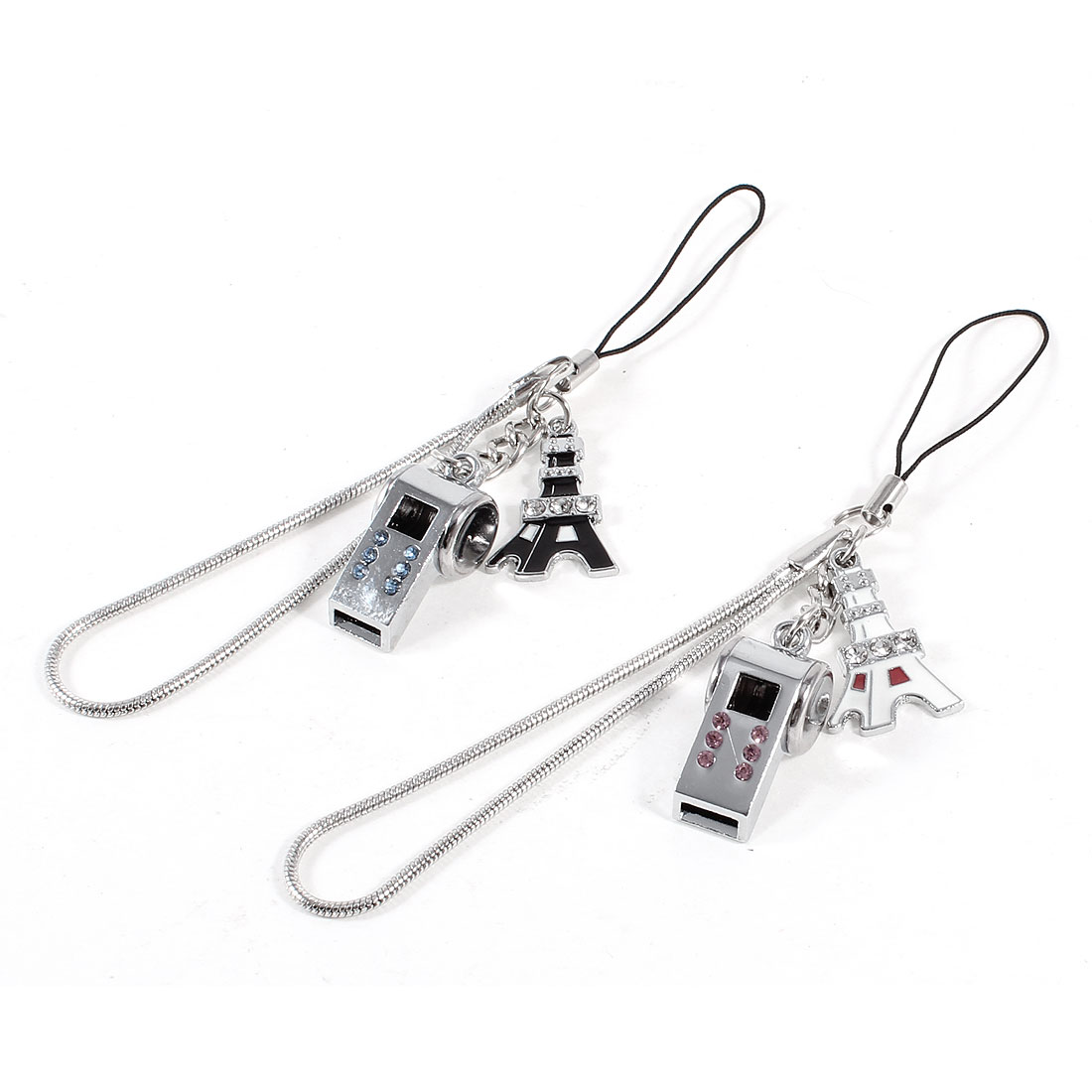 Pair Silver Tone Whistle Tower Pendant Phone Bag Hanging Decoration for Lovers Couples