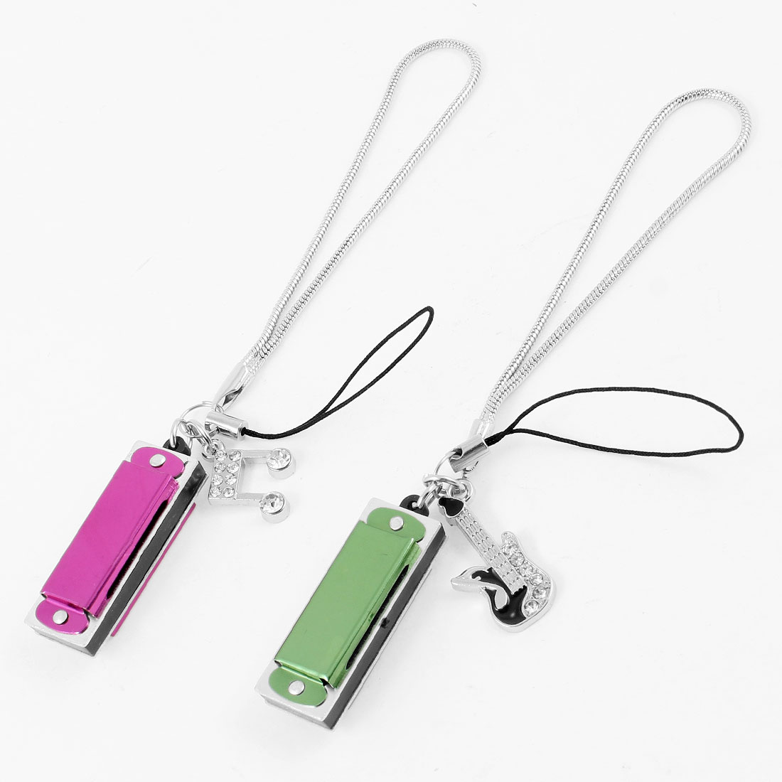 Pair Fuchsia Green Harmonica Style Pendants Phone Strap Gift for Lovers