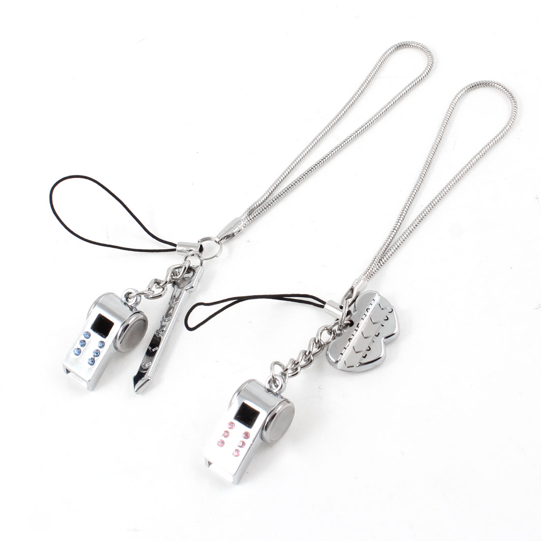 Lovers Alloy Whistle Arrow Heart Decoration Keychain Bag Pendant 2 Pcs