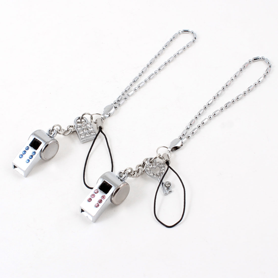 Lovers Whistle Key Lock Pendant Alloy Cell Phone Strap Pair Sliver Tone