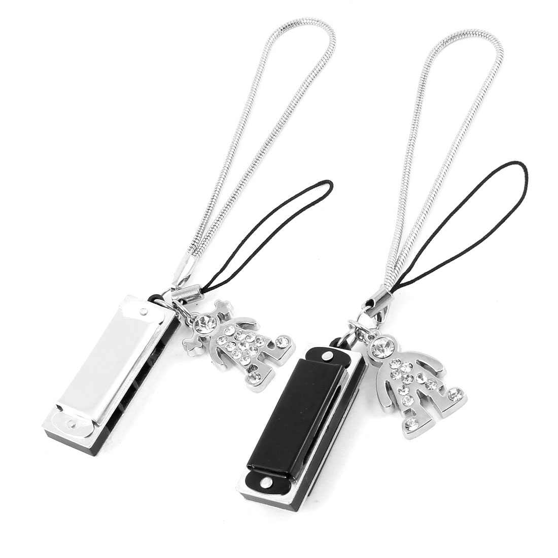 Pair Black Sliver Tone Dangle Pendant Cell Phone Straps Ornament for Lovers