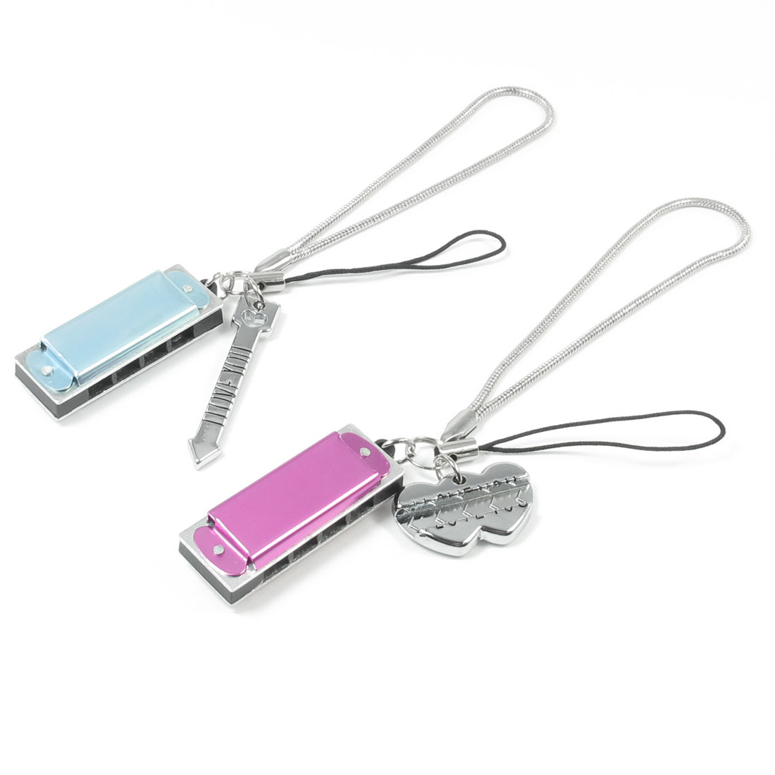 2 Pcs Sliver Tone Arrow Heart Pendant Decoration Strap for Lovers