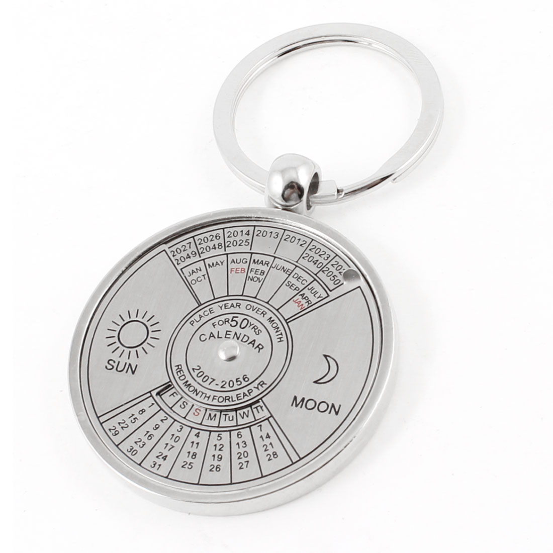 Silver Tone Round Shape Calendar Pendants Key Ring for Woman Man