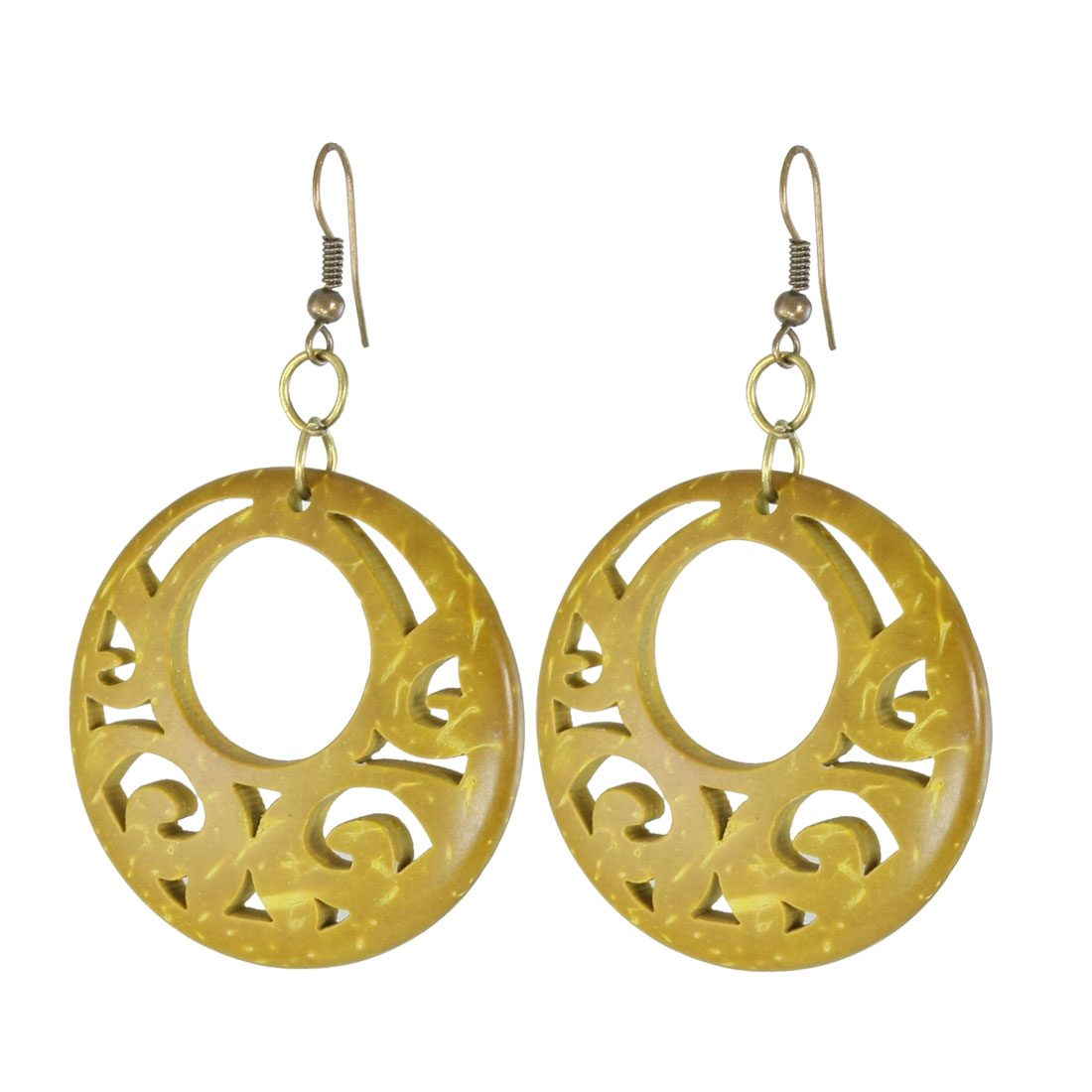 Olive Green Plastic Hollow Out Circle Shaped Pendent Fish Hook Earrings Pair for Woman