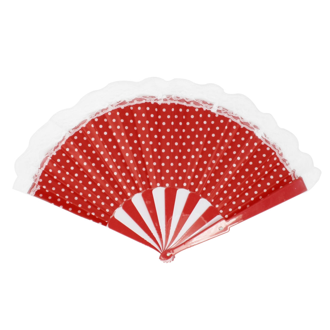 White Dots Pattern Lace Edge Decor Red Plastic Folding Hand Fan
