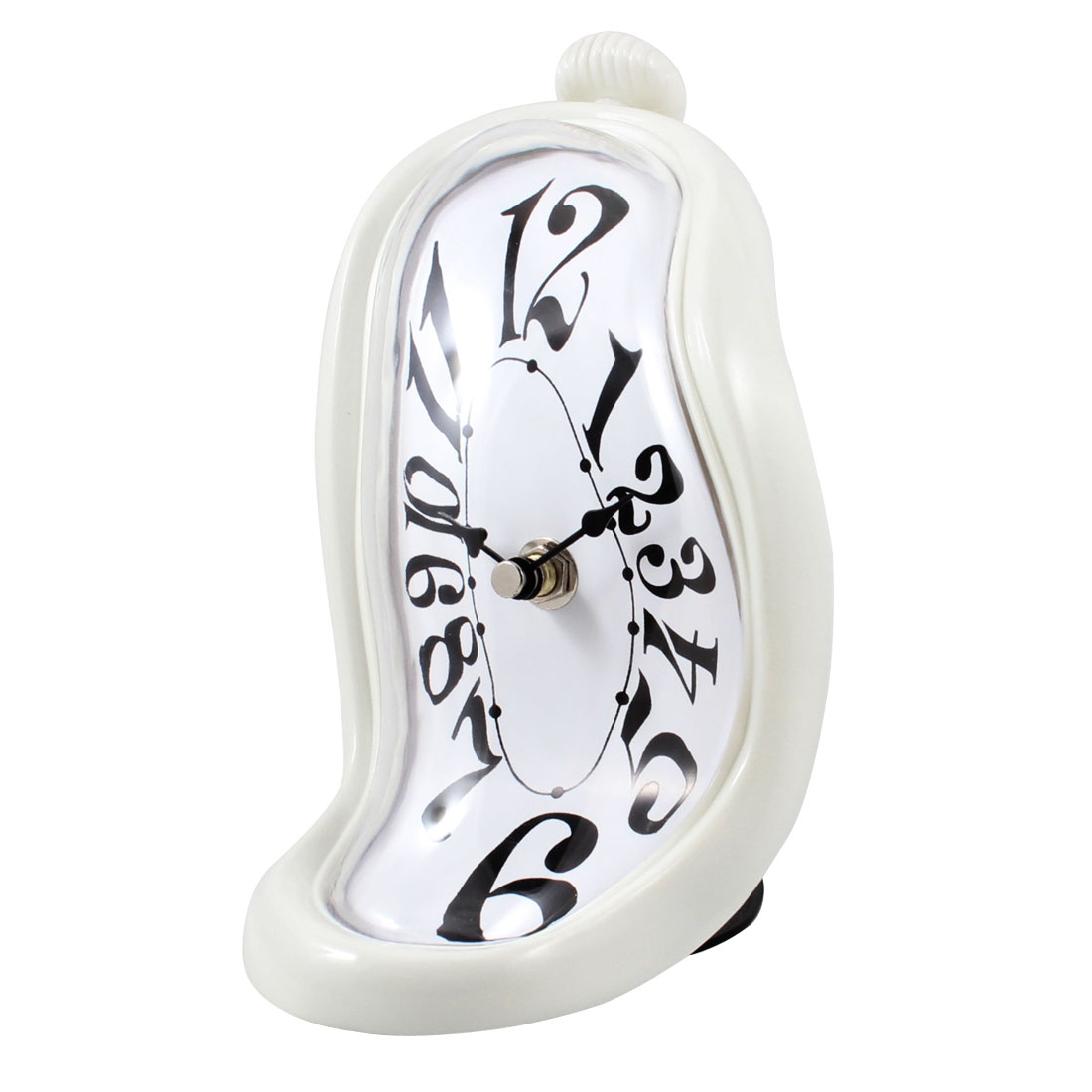 Battery Power Off White Shell Arabic Numbers Shelf Desk Dali Melting Clock