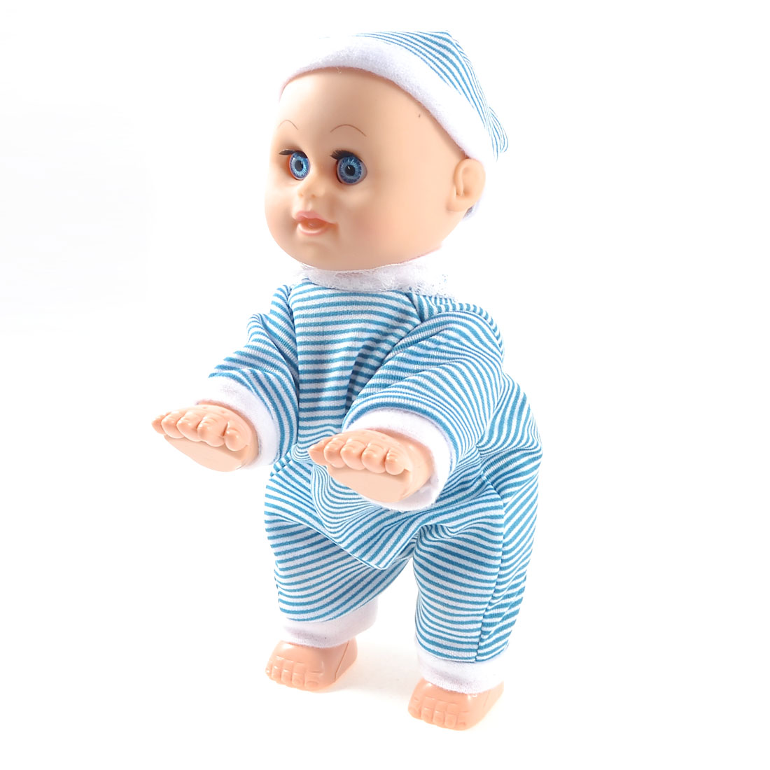 Blue White Striped Jumpsuit Plastic Crawling Dance Baby Laugh Music Doll Toy