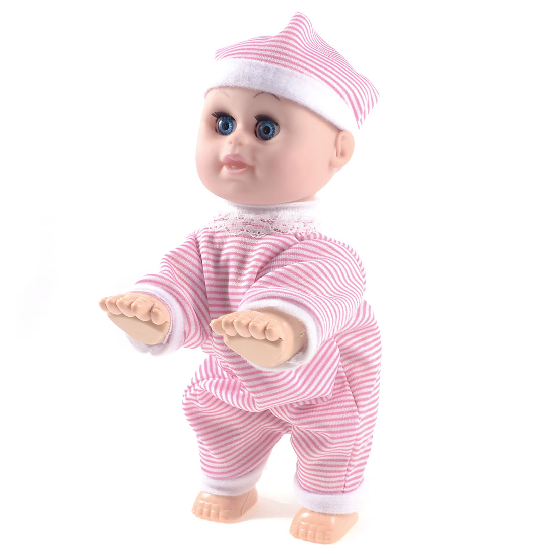 Pink White Striped Jumpsuit Plastic Crawling Happy Baby Laugh Music Doll Toy