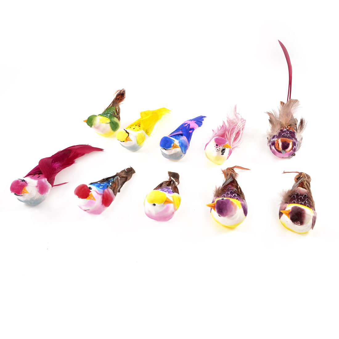 10 Pcs Multicolor Faux Feather Magnetic Artificial Birds for Christmas Parties