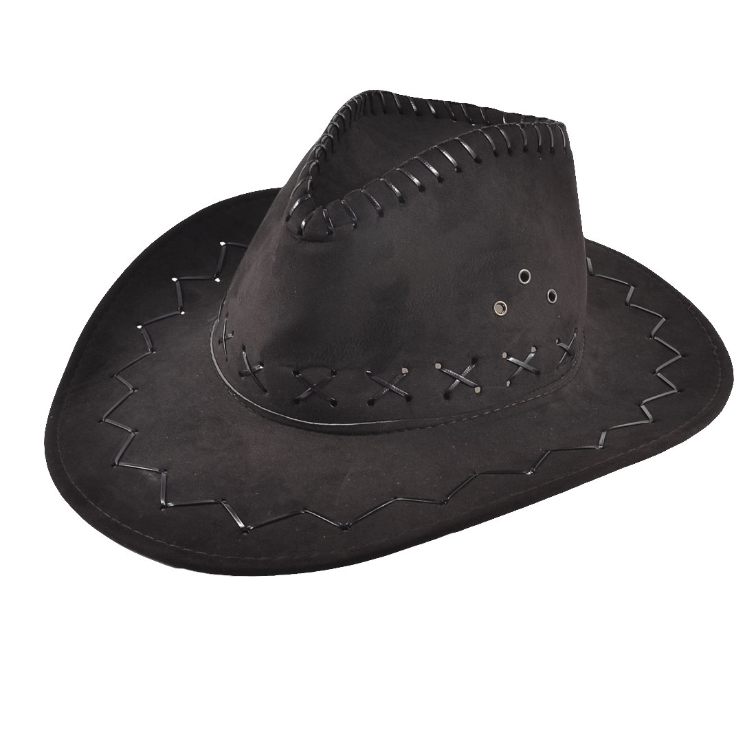 Man Adjustable Chin Strap Faux Leather Cowboy Hat Gift Chocolate Color