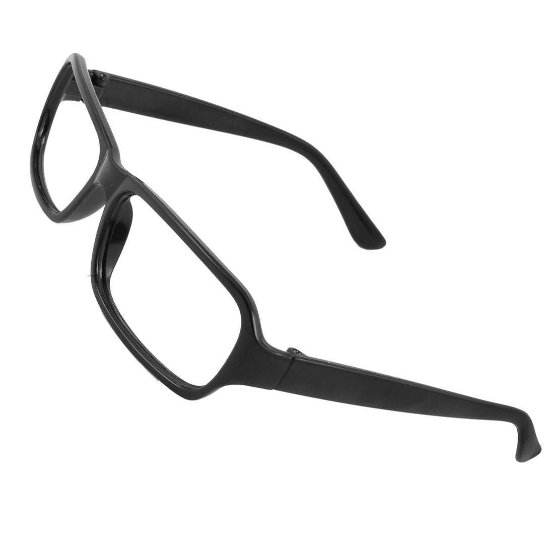 Women Plastic Full Rim No Lens Rectangular Eyeglasses Frame Black