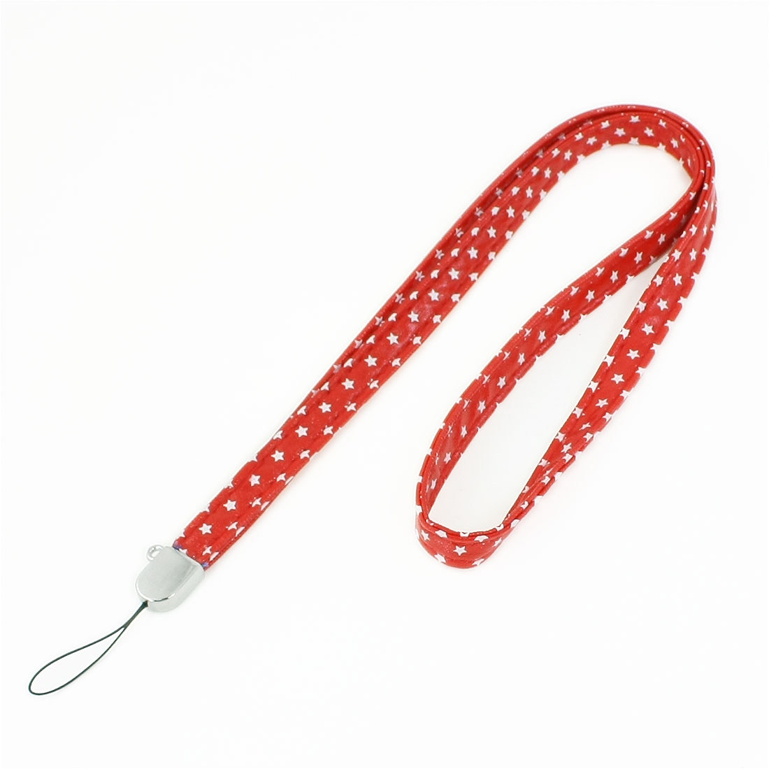 12mm Width White Star Printed Red Faux Leather Drawstring Lanyard for Phone