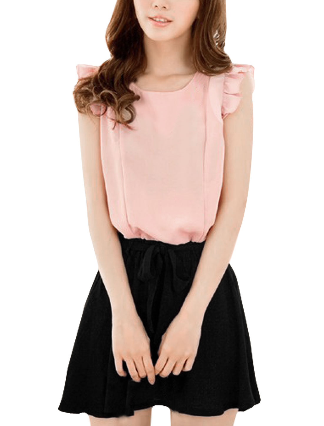 Ladies Round Neck Sleeveless Elastic Waist Flouncing Decor Dress Pale Pink Black S