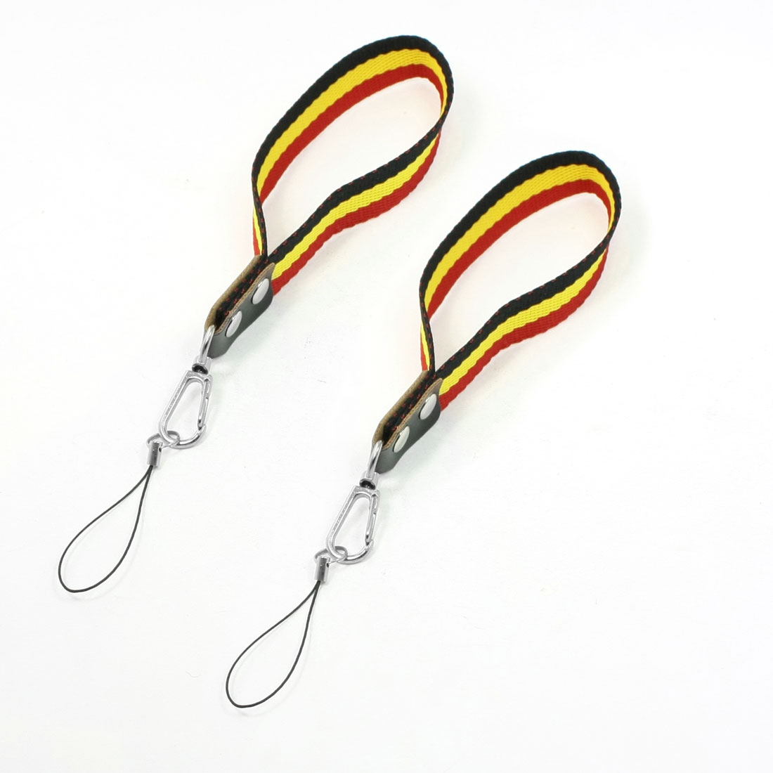 2 Pcs Black Yellow Red Stripe Pattern Hand Strap String for MP4 Cell Phone