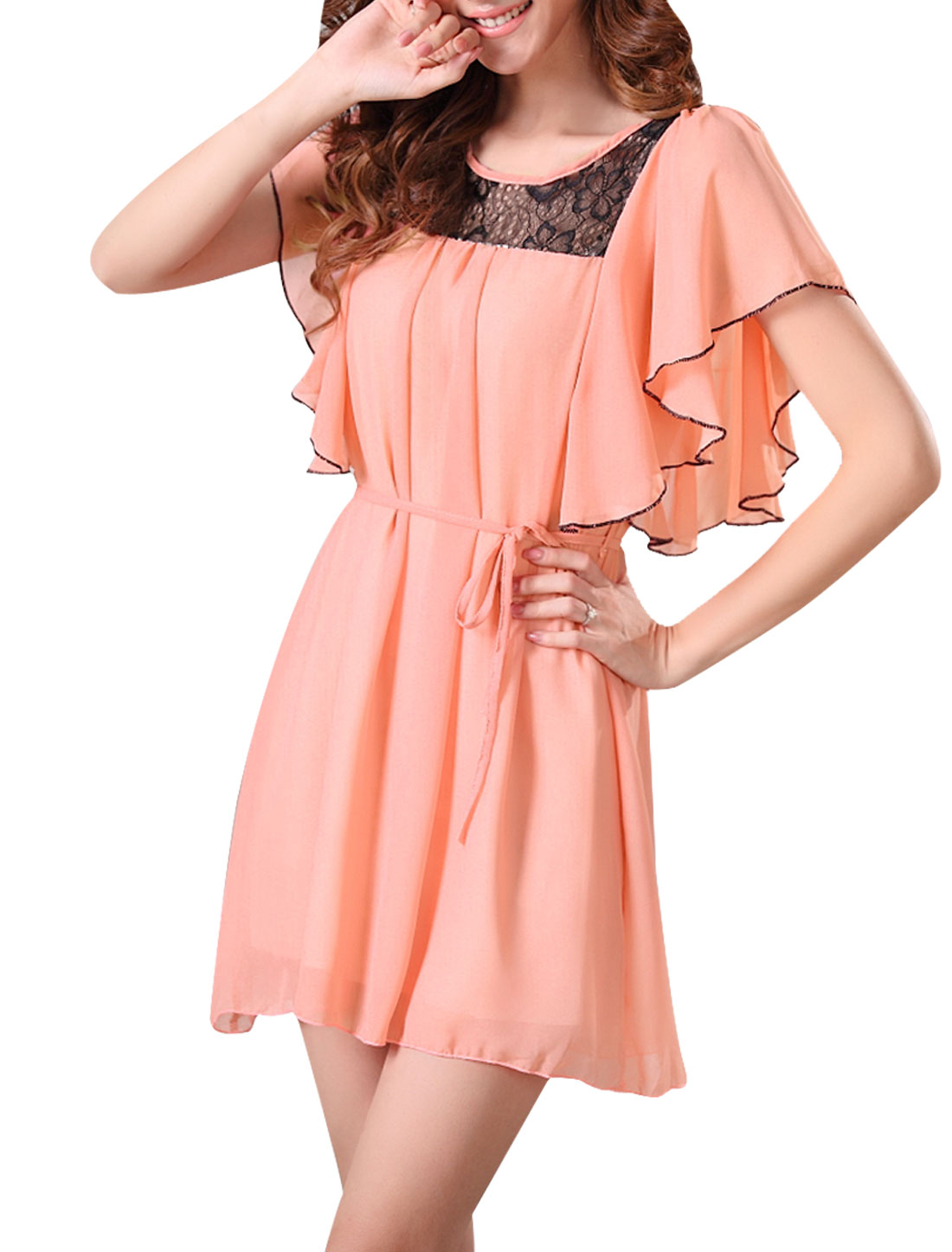 Ladies Chiffon Sleeveless Belted Flouncing Elegant Dress Pink S
