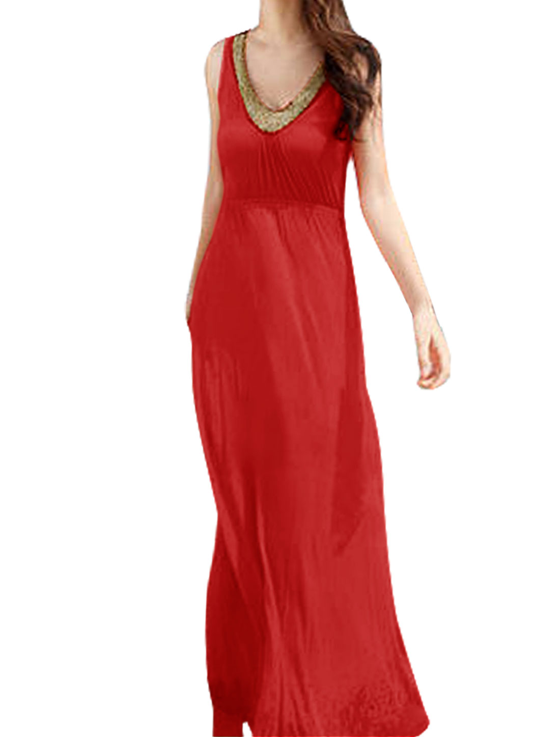Women Chic V Neck Beaded Trimed Sleeveless Pullover Red Maxi Dress XS