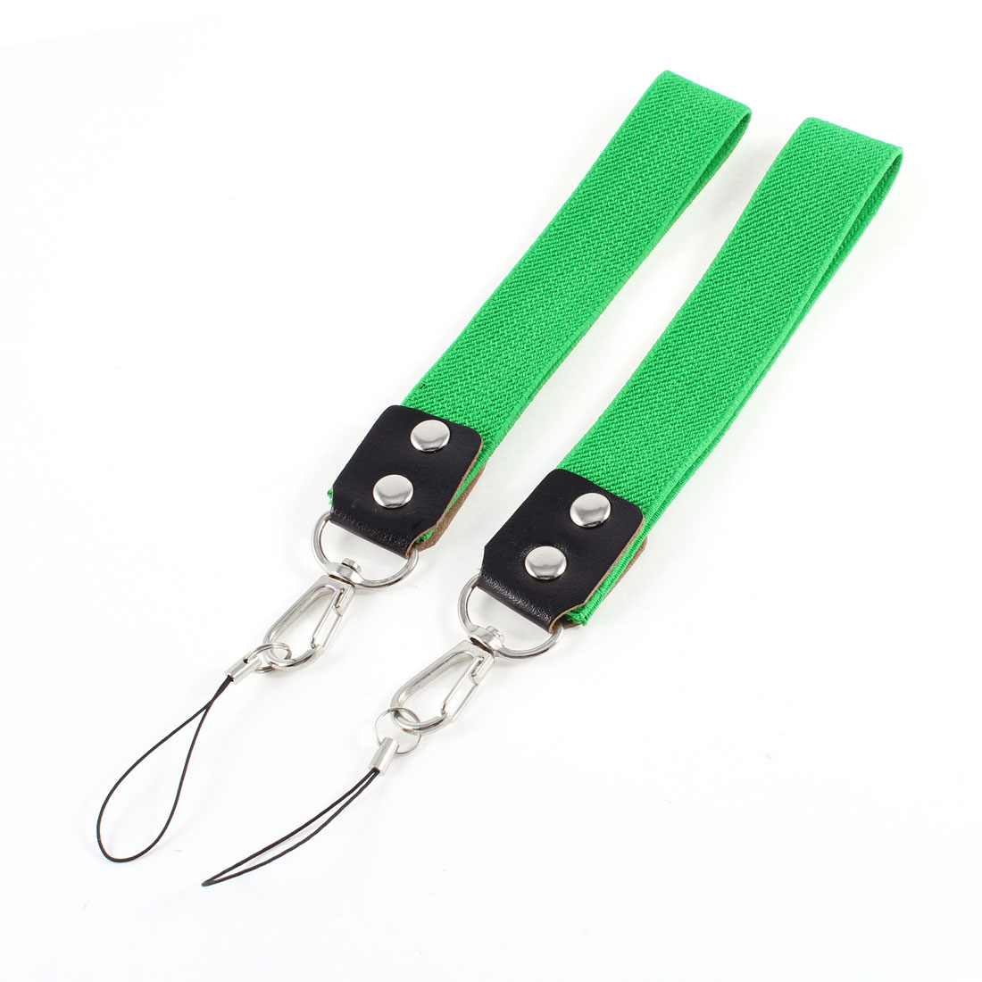 "Pair Green Cotton Blends Elastic Fabric Camera Cell Phone 10"" Length Hand Strap"