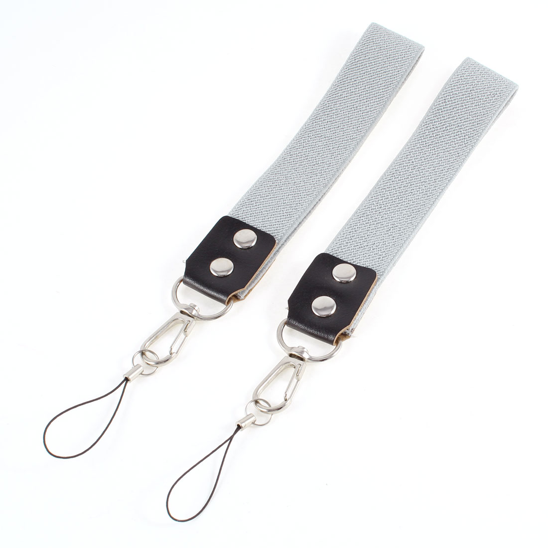 "Pair Gray Cotton Blends Elastic Fabric Camera Cell Phone 10"" Length Hand Strap"