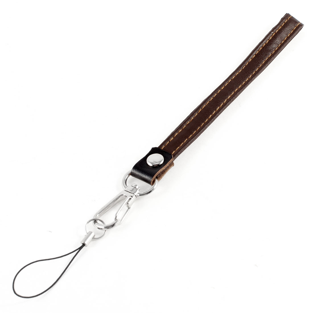 Brown Faux Leather Lichee Pattern Lobster Clasp Mobile Phone String Lanyard