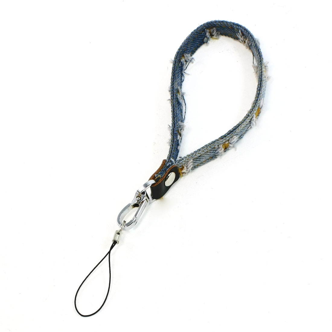 "Distressed Denim Spring Gate Clasp 8.6"" Length Cell Phone Camera Hanging Strap"