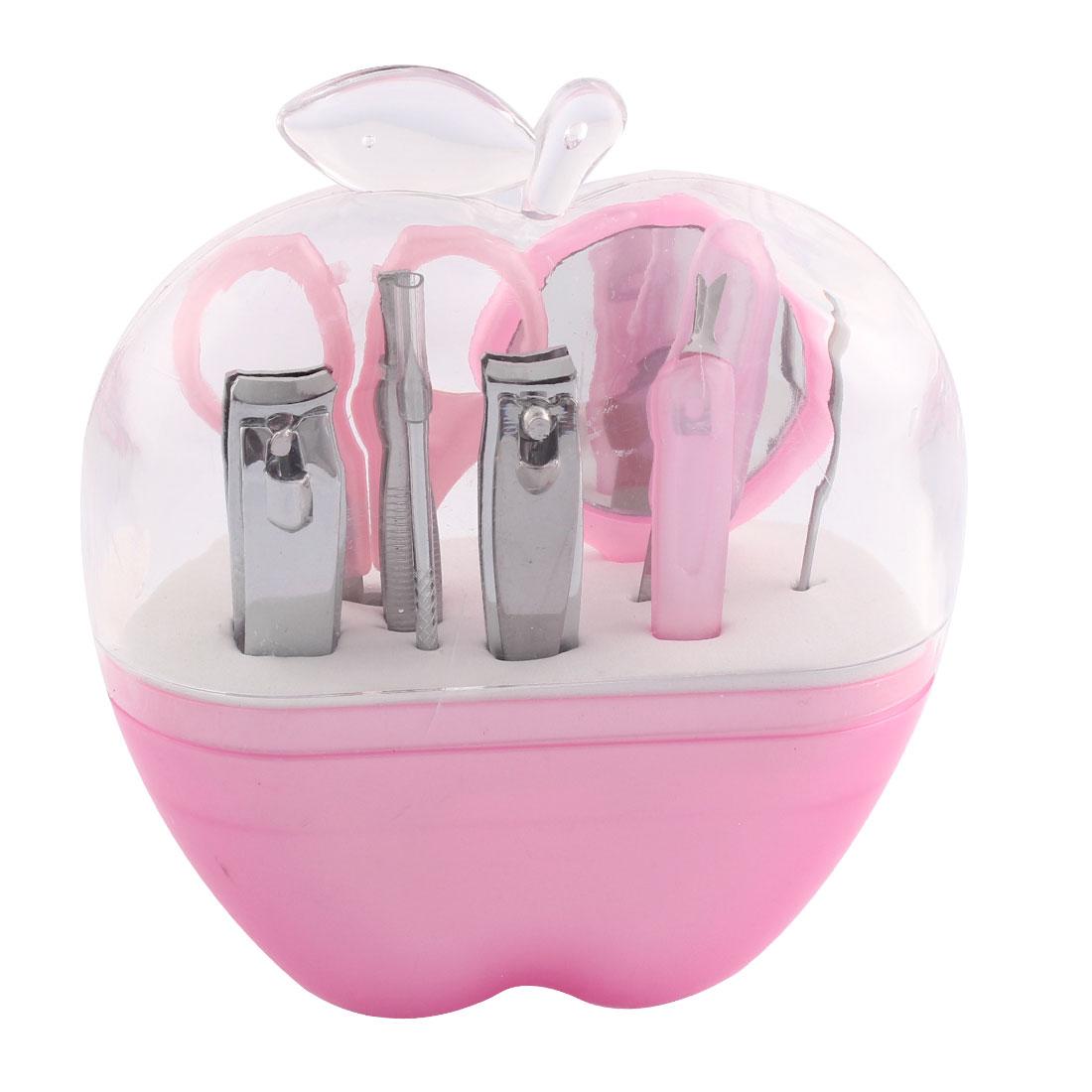 9 in 1 Nail Care Clipper Cuticle Cutter Tweezer Manicure Set w Apple Shape Case