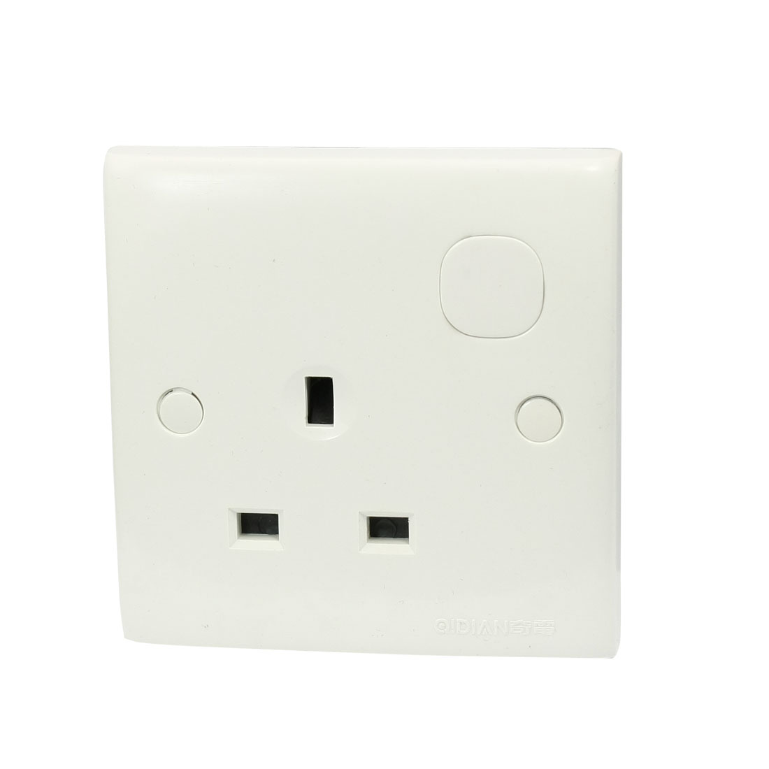 AC 250V 13A 3 Pin UK White Square Wall Outlet Plate Socket