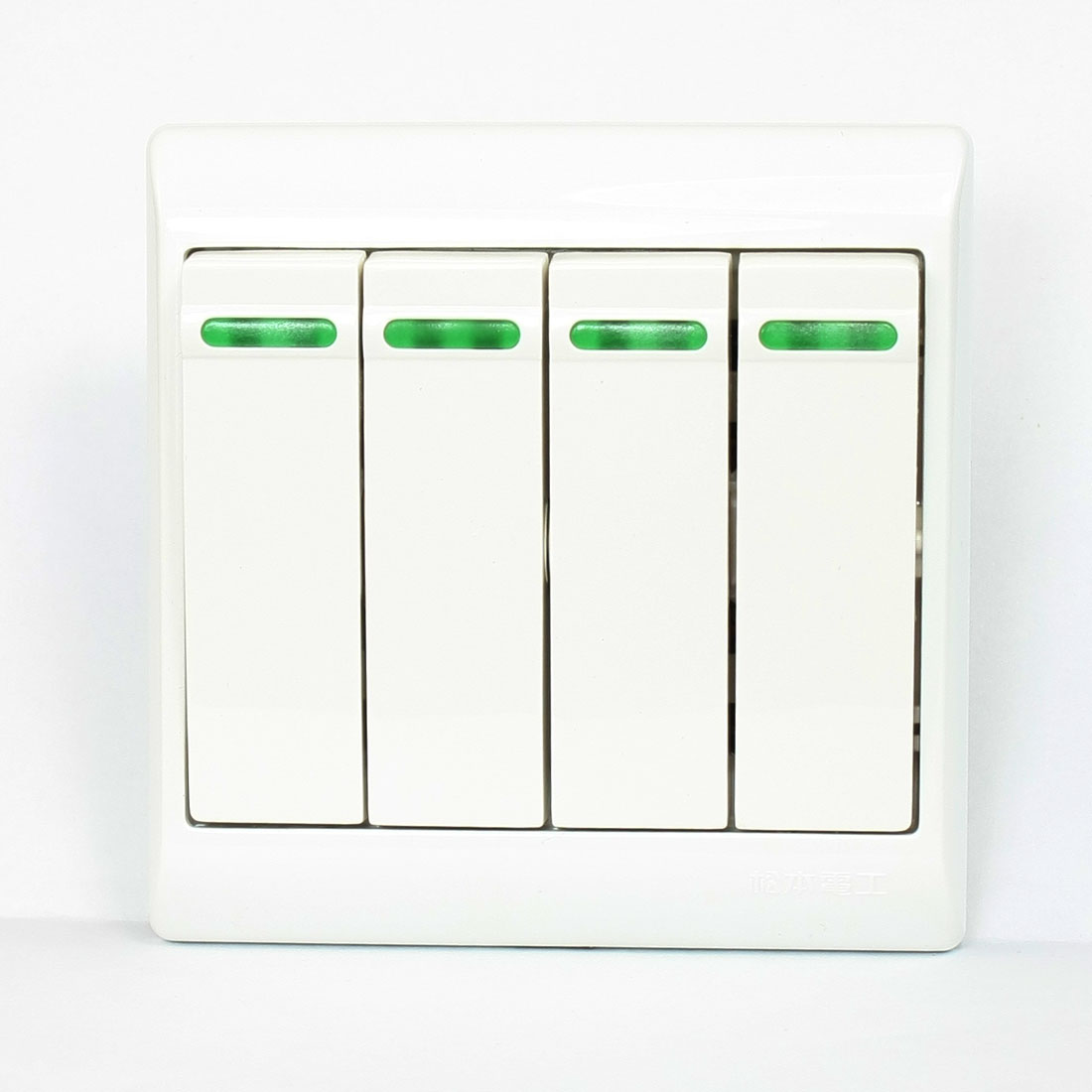 AC 250V 10A White Plastic Square 4 Gang SPDT Wall Panel Light Switch