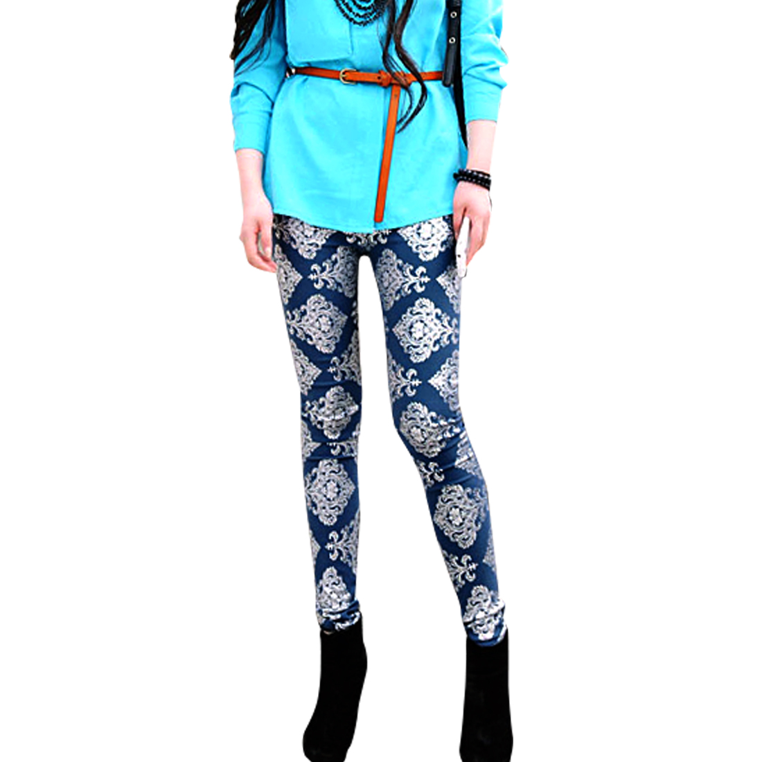 Ladies Elastic Waist Paisley Prints Leggings Royal Blue XS