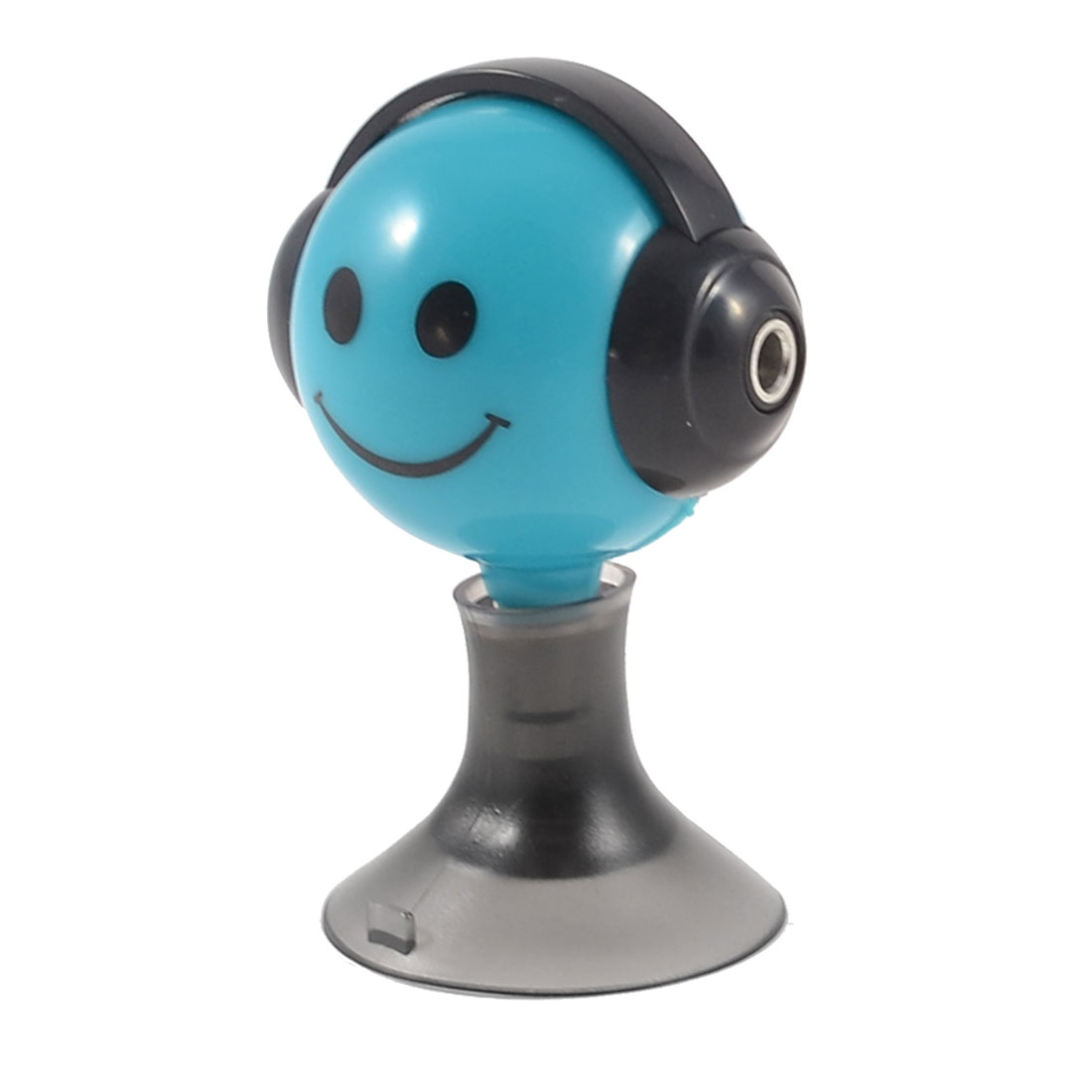Black Teal Blue Cartoon Smile Face Suction Stand 3.5mm Earphone Splitter