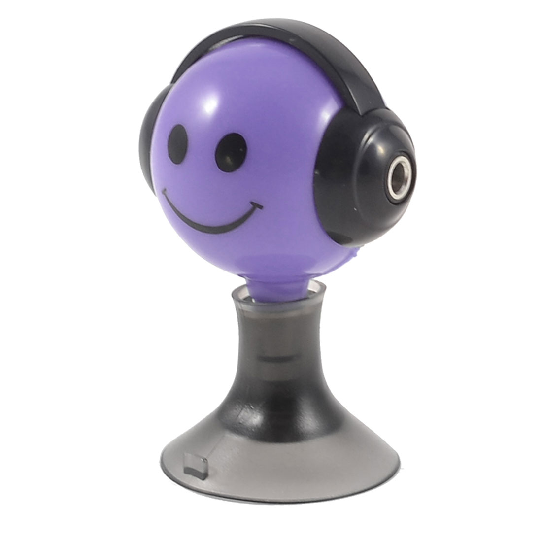 Black Purple Cartoon Smile Face Suction Stand 3.5mm Earphone Splitter