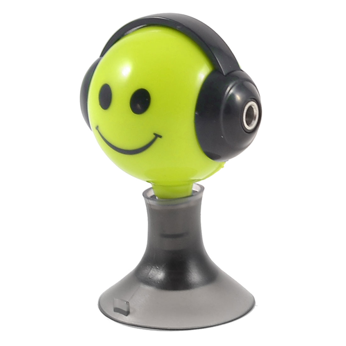 Black Yellow Green Cartoon Smile Face Suction Stand 3.5mm Earphone Splitter