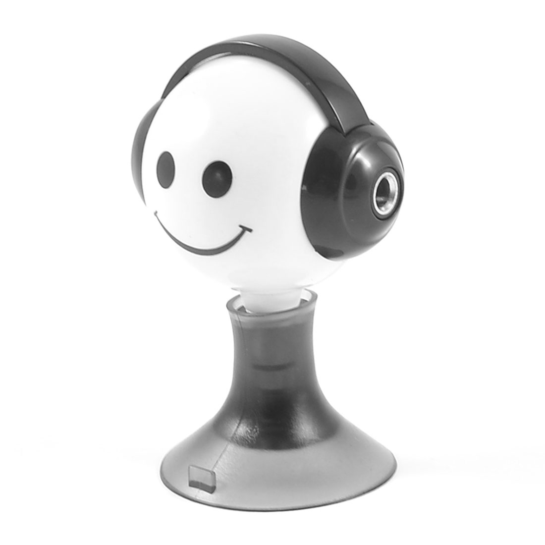 Black White Cartoon Smile Face Suction Stand 3.5mm Earphone Splitter